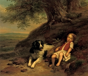 A boy resting with his dog, in