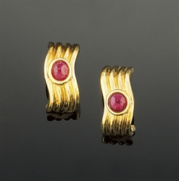 A pair of 18ct. gold and ruby