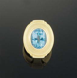 A blue topaz intaglio ring, by