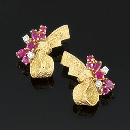 A pair of 18ct. gold ruby and