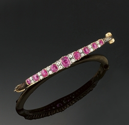 A ruby and diamond bangle