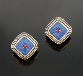 A pair of enamel, diamond and