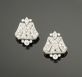 A pair of Art Deco diamond ear