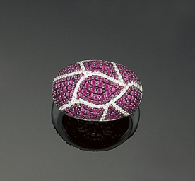 A ruby and diamond bombe ring