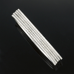 A set of five diamond bangles