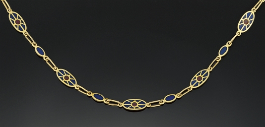 An enamel necklace