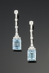 A pair of aquamarine and diamo