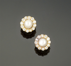 A pair of pearl and diamond cl
