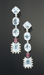 A pair of aquamarine, pink tou