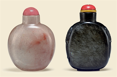 TWO HAIR CRYSTAL SNUFF BOTTLES