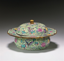 A RARE PAINTED ENAMEL SPITTOON