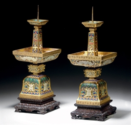 A PAIR OF JADE-INLAID AND ENAM