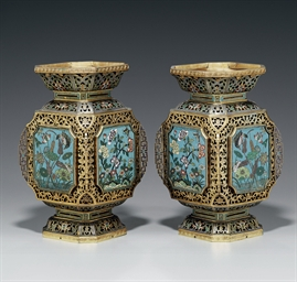 A PAIR OF CLOISONNE AND CHAMPL
