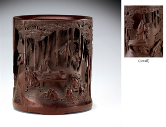 A WELL-CARVED BAMBOO BRUSH POT