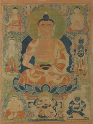 A RARE SILK BROCADE THANGKA
