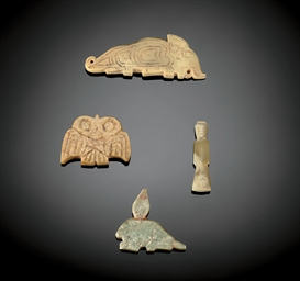 FOUR SMALL JADE FIGURAL PENDAN