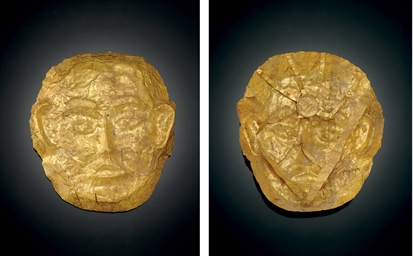 A RARE GOLD FUNERARY MASK