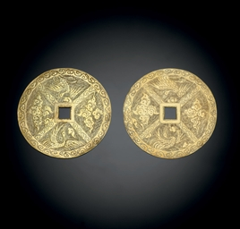 A PAIR OF GOLD FLAT 'CASH'-FOR