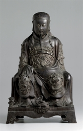 A BRONZE FIGURE OF ZHENWU