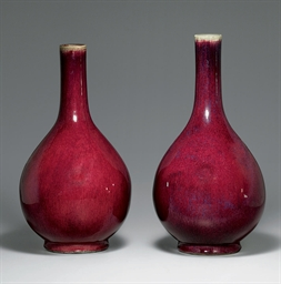 TWO LARGE FLAMBE-GLAZED BOTTLE