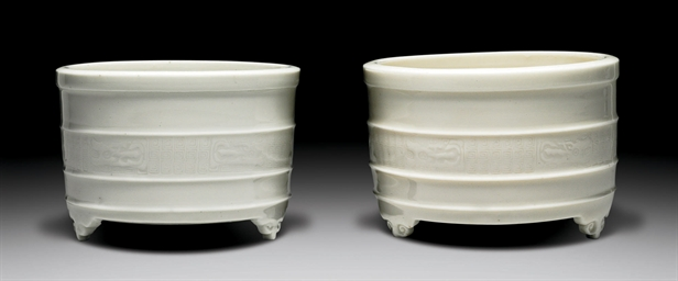 TWO DEHUA TRIPOD CENSERS