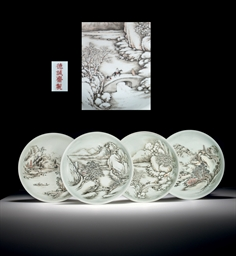 A SET OF FOUR RARE GRISAILLE A
