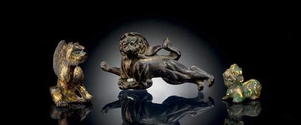 THREE SMALL GILT-BRONZE ANIMAL