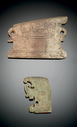 TWO RARE JADE MASK-CARVED PLAQ