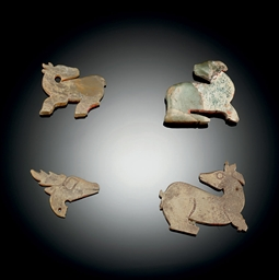 FOUR SMALL JADE DEER-FORM PEND