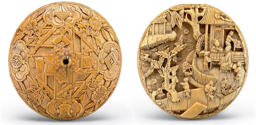 A VERY RARE CARVED IVORY MEDAL