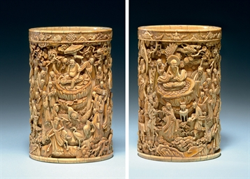 AN EXCEPTIONAL CARVED IVORY BR