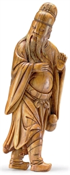 AN IVORY FIGURE OF A SCHOLAR