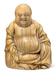 AN IVORY FIGURE OF BUDAI