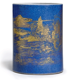 A GILT-DECORATED POWDER BLUE-G