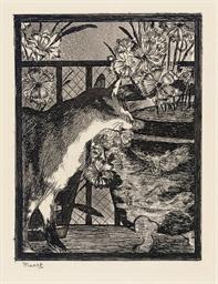 Le Chat et les Fleurs (Guérin