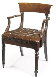 A WILLIAM IV MAHOGANY ARMCHAIR