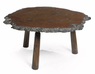 A BURR ELM AND OAK LOW TABLE