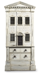 A GREY-PAINTED 'DOLLS HOUSE' P