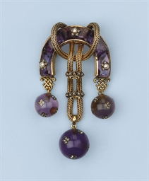 AN ANTIQUE AMETHYST, PEARL AND