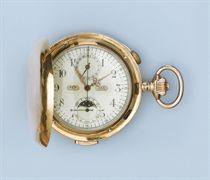 AN 18K GOLD HUNTER CASE PERPETUAL CALENDAR REPEATING CHRONOGRAPH KEYLESS LEVER WATCH WITH MOON PHASES