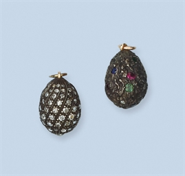 TWO GEM SET EGG PENDANTS