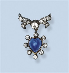 A FINE ANTIQUE SAPPHIRE AND DI