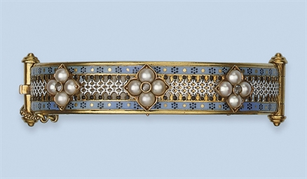 AN ENAMEL, PEARL AND DIAMOND B