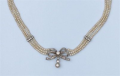 AN ANTIQUE PEARL AND DIAMOND C