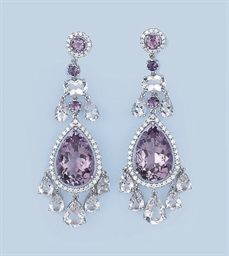 A PAIR OF AMETHYST AND DIAMOND