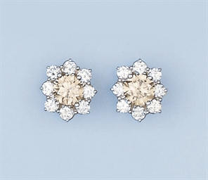 A PAIR OF COLOURED DIAMOND CLU