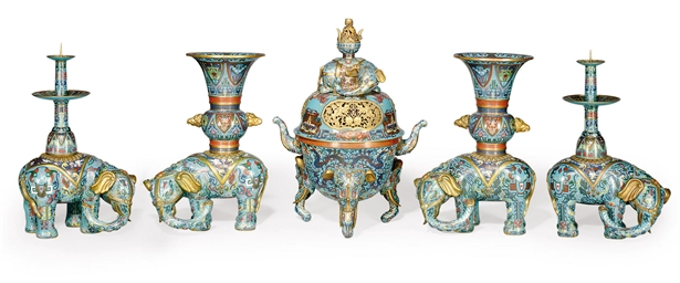A CHINESE FIVE-PIECE CLOISONNÉ
