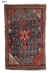 An antique Qashqai rug & Bokha