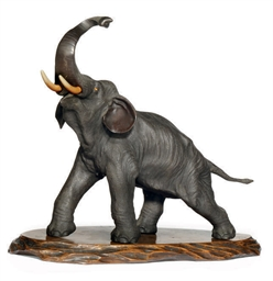 A LARGE JAPANESE BRONZE ELEPHA