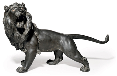 A LARGE JAPANESE BRONZE LION